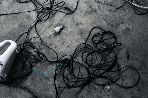 grungy electric wires