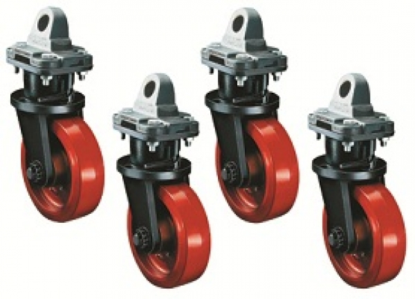 Swivel caster sets for moving ISO freight containers