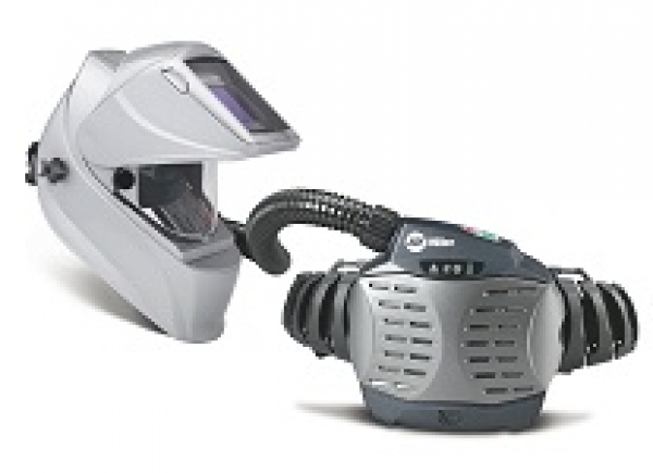 Auto-darkening welding helmet with powered air purifying respirator