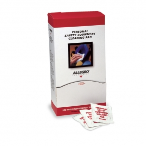 Respirator cleaning pads