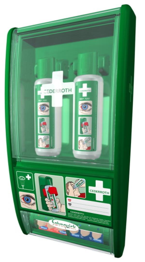 Eyewash with bandage dispenser