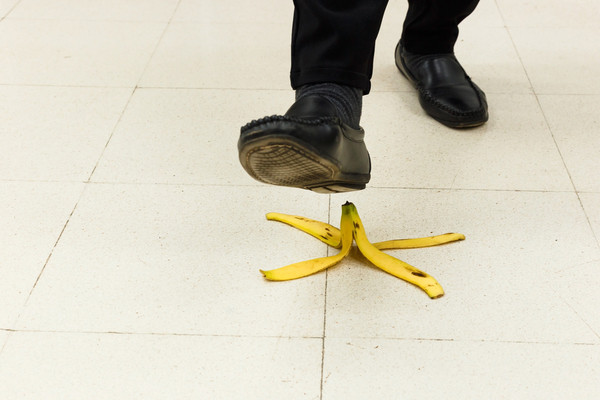slipping on banana peel
