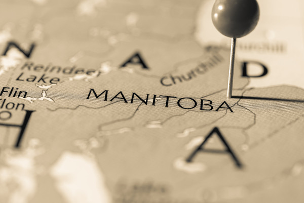 Map with pin of Manitoba