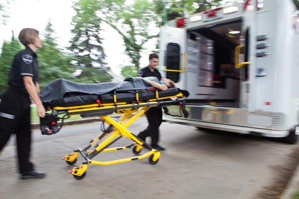 paramedics with stretcher