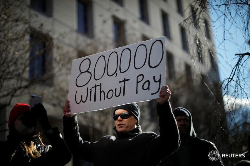 Furloughed federal workers protest at White House on shutdown Day 20